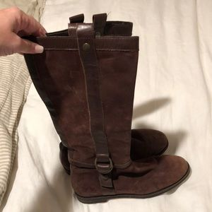 Chocolate brown suede riding boots